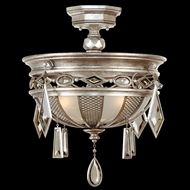 Fine Art Lamps 727140-1 Encased Gems Silver Ceiling Light with Multi-Color Crystal