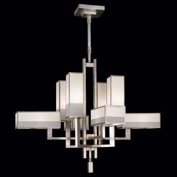 Fine Art Handcrafted Lighting 733840-2 Perspectives Contemporary Silver Fluorescent Ceiling Chandelier