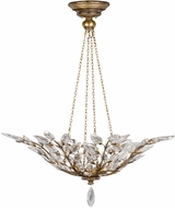 Fine Art Handcrafted Lighting 776340 Crystal Laurel Gold Gold Fluorescent Drop Ceiling Light Fixture