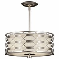 Fine Art Lamps 787540GU Allegretto Silver Fluorescent Drum Pendant Lighting Fixture