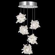 Fine Art Handcrafted Lighting 852440-102L Natural Inspirations LED Contemporary Silver LED Multi Pendant Light Fixture