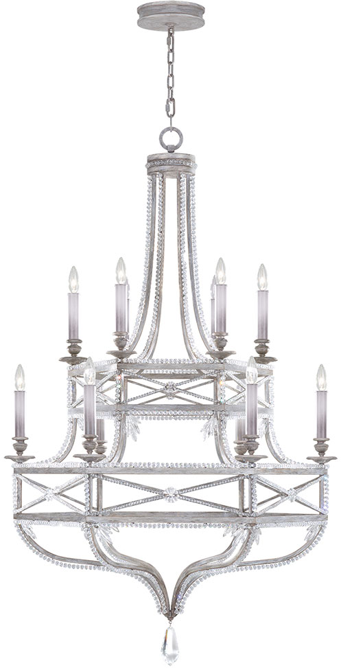 Fine Art Lamps 857640 12ST Prussian Neoclassic Prussian Silver Gray  Chandelier Lamp. Loading Zoom