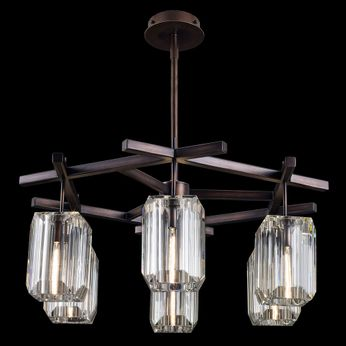 Fine Art Handcrafted Lighting 875340 Monceau Contemporary Bronze LED Chandelier Lamp