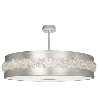 Fine Art Lamps 876240 Arctic Halo Modern Silver LED Drum Hanging Light Fixture