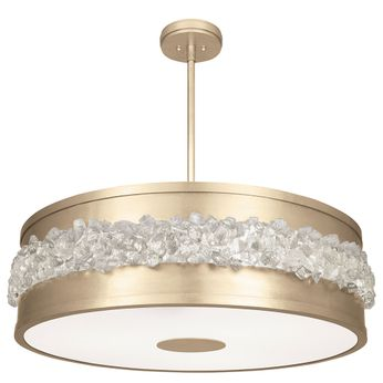 Fine Art Handcrafted Lighting 876340-1 Arctic Halo Contemporary Gold LED Drum Ceiling Pendant Light