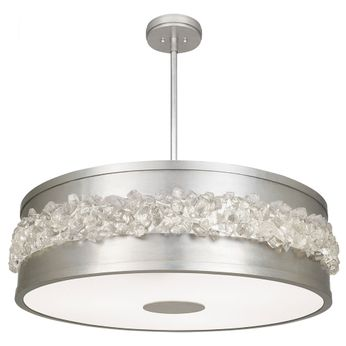 Fine Art Handcrafted Lighting 876340 Arctic Halo Contemporary Silver LED Drum Ceiling Light Pendant
