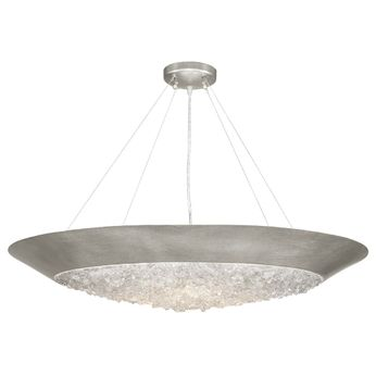 Fine Art Handcrafted Lighting 876440 Arctic Halo Contemporary Silver LED Drop Lighting Fixture