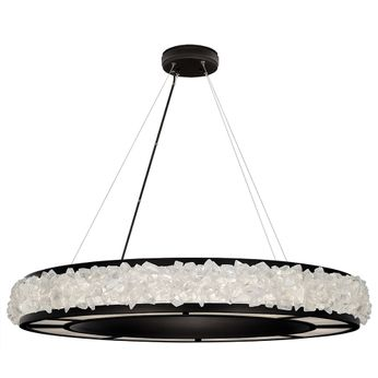 Fine Art Handcrafted Lighting 878040-2 Arctic Halo Contemporary Black LED Pendant Hanging Light