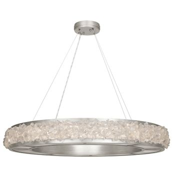 Fine Art Handcrafted Lighting 878040 Arctic Halo Contemporary Silver LED Hanging Pendant Lighting
