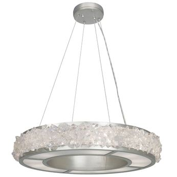 Fine Art Handcrafted Lighting 878140 Arctic Halo Contemporary Silver LED Hanging Light Fixture