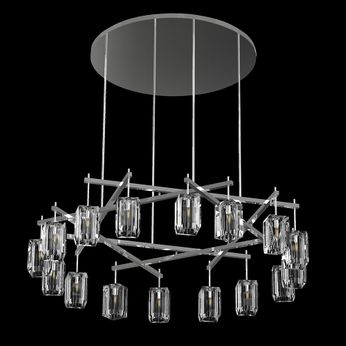 Fine Art Handcrafted Lighting 878340-1 Monceau Modern Silver LED Chandelier Lamp