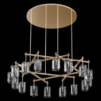 Fine Art Handcrafted Lighting 878340-2 Monceau Contemporary Gold LED Chandelier Light