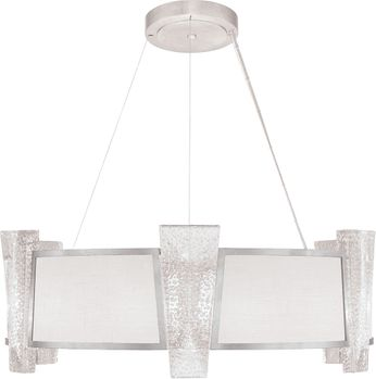 Fine Art Handcrafted Lighting 890840-11 Crownstone Contemporary Silver LED Drum Pendant Light Fixture