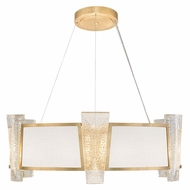 Fine Art Lamps 890840-21 Crownstone Modern Gold LED Drum Hanging Pendant Lighting