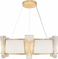 Fine Art Lamps 890840-21ST Crownstone Contemporary Gold 32  Drum Pendant Lighting Fixture