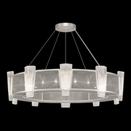 Fine Art Lamps 891040-12 Crownstone Modern Silver LED Drum Hanging Light Fixture
