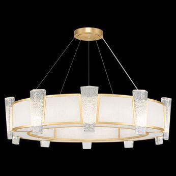 Fine Art Handcrafted Lighting 891040-21 Crownstone Contemporary Gold LED Drum Drop Lighting