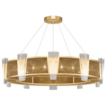 Fine Art Handcrafted Lighting 891040-22 Crownstone Modern Gold LED Drum Drop Ceiling Lighting