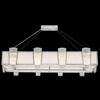 Fine Art Handcrafted Lighting 891240-11 Crownstone Contemporary Silver LED Kitchen Island Lighting