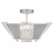 Fine Art Handcrafted Lighting 891340-12 Crownstone Contemporary Silver LED Flush Lighting