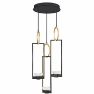 Fine Art Handcrafted Lighting 892940-3 Delphi Contemporary Black LED Multi Pendant Light
