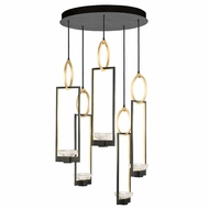 Fine Art Handcrafted Lighting 893040-3 Delphi Modern Black LED Multi Hanging Lamp