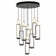 Fine Art Handcrafted Lighting 893240-3 Delphi Modern Black LED Multi Pendant Hanging Light