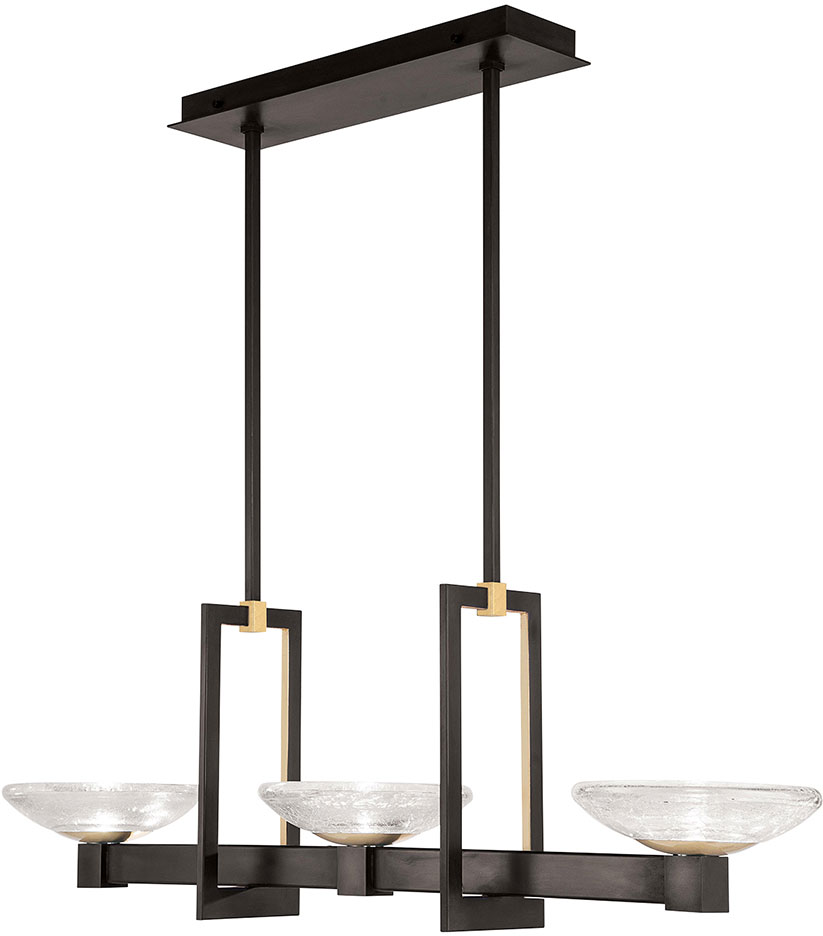 Fine Art Lamps 897040-3ST Delphi Modern Black LED Kitchen Island Lighting