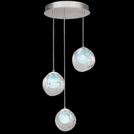 Fine Art Handcrafted Lighting 897540-1AQ Nest Contemporary Silver LED Multi Drop Lighting Fixture