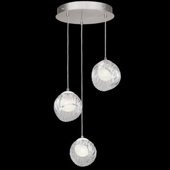 Fine Art Handcrafted Lighting 897540-1WH Nest Modern Silver LED Multi Hanging Lamp