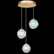 Fine Art Handcrafted Lighting 897540-2AQ Nest Modern Gold LED Multi Pendant Lighting Fixture