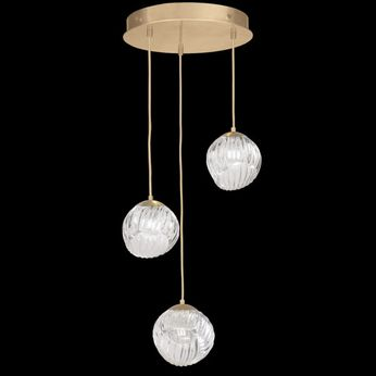 Fine Art Handcrafted Lighting 897540-2CL Nest Contemporary Gold LED Multi Hanging Pendant Lighting