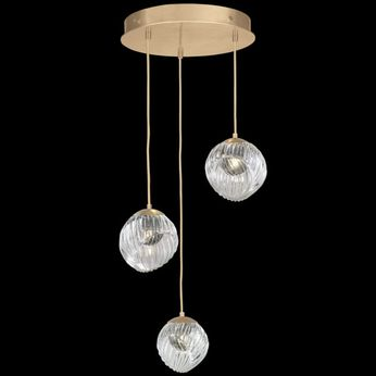 Fine Art Handcrafted Lighting 897540-2SQ Nest Contemporary Gold LED Multi Hanging Light Fixture