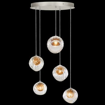 Fine Art Handcrafted Lighting 897640-1AB Nest Contemporary Silver LED Multi Drop Ceiling Lighting