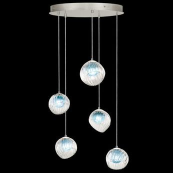 Fine Art Handcrafted Lighting 897640-1AQ Nest Contemporary Silver LED Multi Ceiling Pendant Light