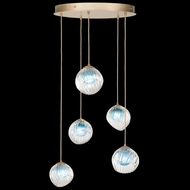 Fine Art Handcrafted Lighting 897640-2AQ Nest Contemporary Gold LED Multi Hanging Light
