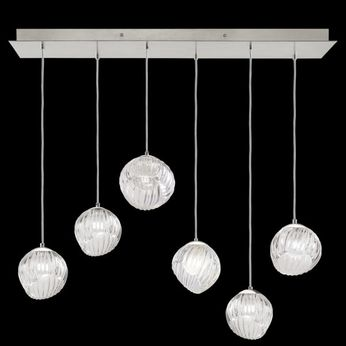 Fine Art Handcrafted Lighting 897740-1CL Nest Modern Silver LED Multi Ceiling Light Pendant
