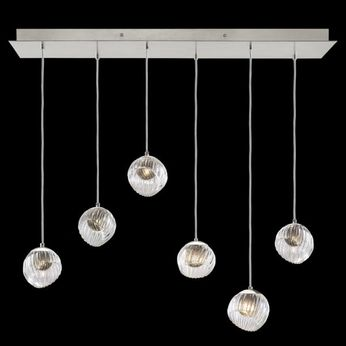 Fine Art Handcrafted Lighting 897740-1SQ Nest Contemporary Silver LED Multi Drop Lighting Fixture