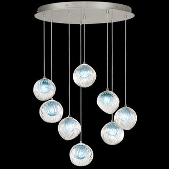 Fine Art Handcrafted Lighting 897840-1AQ Nest Modern Silver LED Multi Hanging Light Fixture