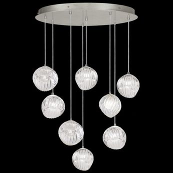 Fine Art Handcrafted Lighting 897840-1CL Nest Contemporary Silver LED Multi Drop Lighting