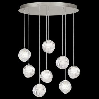 Fine Art Handcrafted Lighting 897840-1WH Nest Modern Silver LED Multi Drop Ceiling Light Fixture