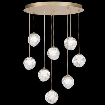 Fine Art Handcrafted Lighting 897840-2WH Nest Contemporary Gold LED Multi Pendant Light Fixture