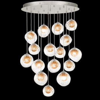 Fine Art Handcrafted Lighting 897940-1AB Nest Modern Silver LED Multi Pendant Lighting Fixture