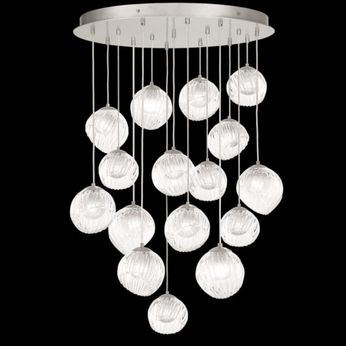 Fine Art Handcrafted Lighting 897940-1WH Nest Modern Silver LED Multi Ceiling Light Pendant