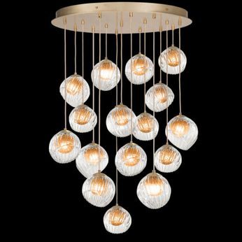 Fine Art Handcrafted Lighting 897940-2AB Nest Modern Gold LED Multi Ceiling Pendant Light