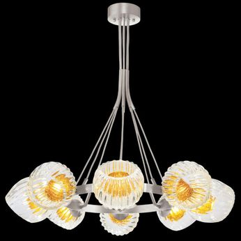 Fine Art Handcrafted Lighting 899240-18AB Nest Modern Silver LED Chandelier Lighting