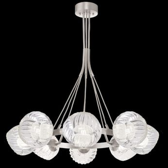 Fine Art Handcrafted Lighting 899240-18WH Nest Contemporary Silver LED Chandelier Lighting