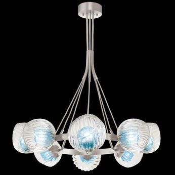 Fine Art Handcrafted Lighting 899240-19AQ Nest Contemporary Silver LED Chandelier Light