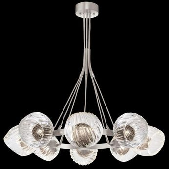Fine Art Handcrafted Lighting 899240-1SQ Nest Modern Silver LED Chandelier Light