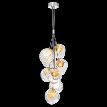 Fine Art Handcrafted Lighting 899740-19AB Nest Modern Silver LED Mini Lighting Chandelier
